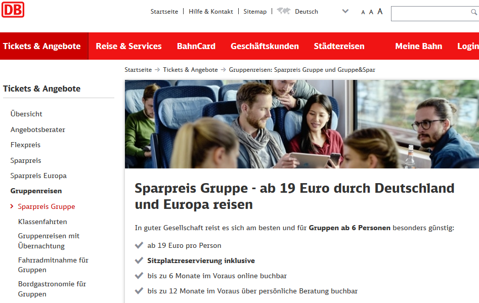 Screenshot Deal Günstige-Bahntickets