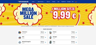 WoW Flug Angebote 1 Million sitze ab 2,99€ 3