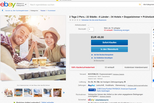 Screenshot Deal  - Kurzurlaub für 2 Personen