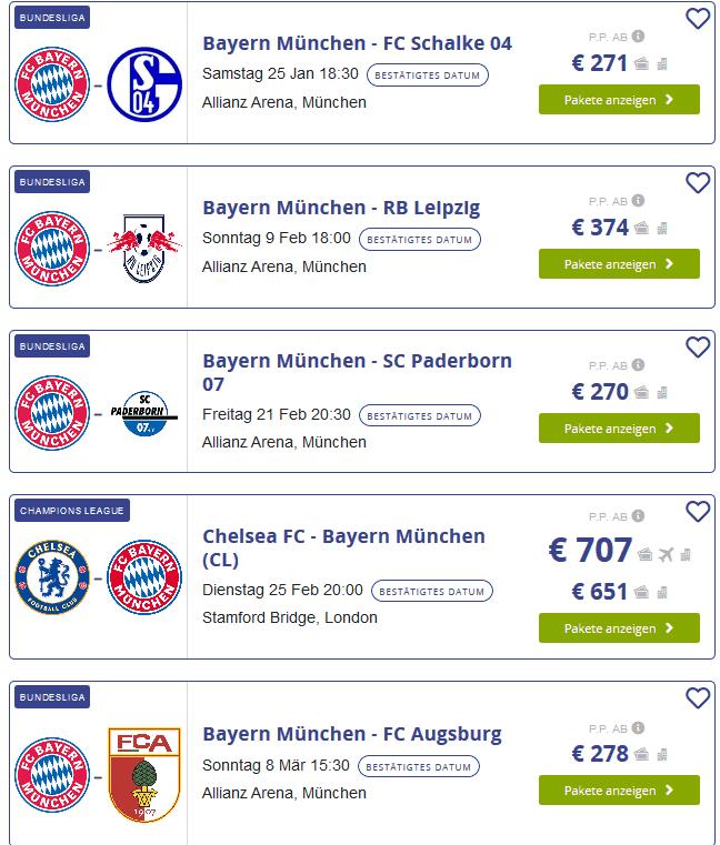 Screenshot Deal Bundesliga tickets bayern münchen mit übernachtung