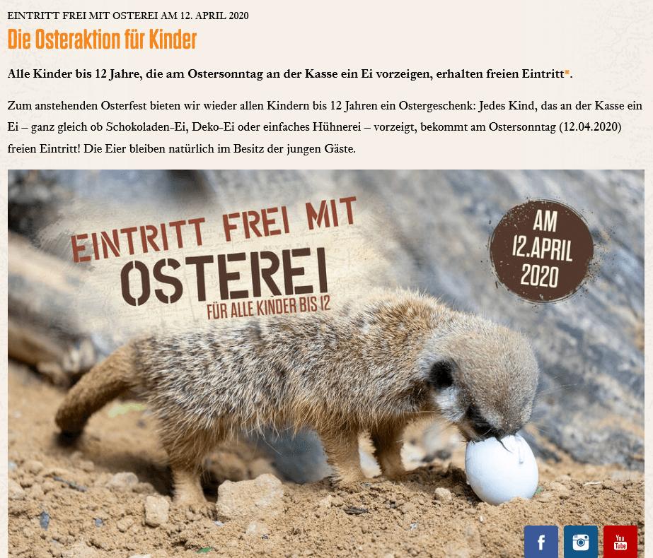 Screenshot Deal - Eintritt frei mit Osterei Osteraktion Serenget Park