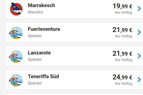 Deal-Screenshot -mit Ryanair Urlaub Lanzarote günstig buchen