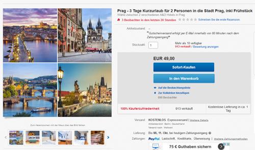 Schnäppchen Kurzurlaub nach Prag - 3 Tage 2 Personen inkl Frühstück nur 49,00€ 1