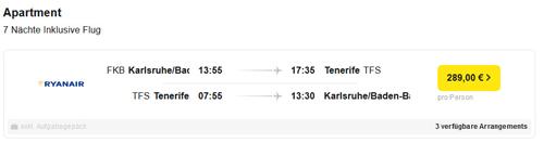 Urlaubsreisen nach Teneriffa 7 Nächte - Flug-Hotel ab 289,00 € 2