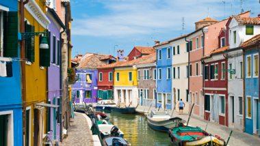 Kanal in Burano Venedig