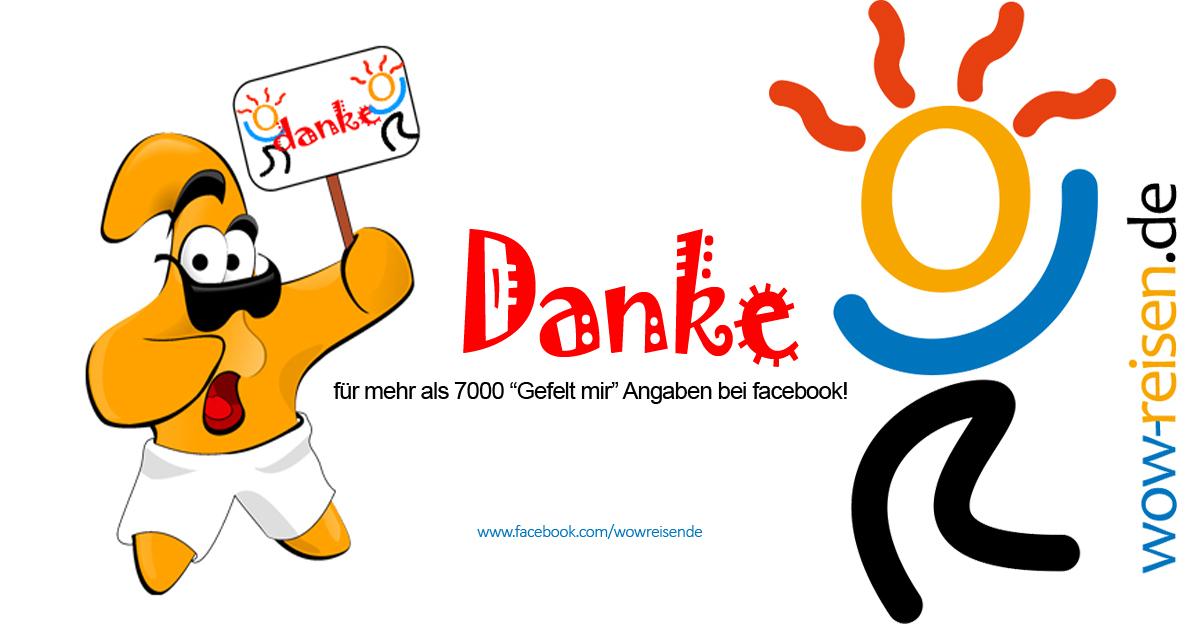 """Danke für mehr als 7000 """"Gefällt mir""""Angaben bei facebook!"""