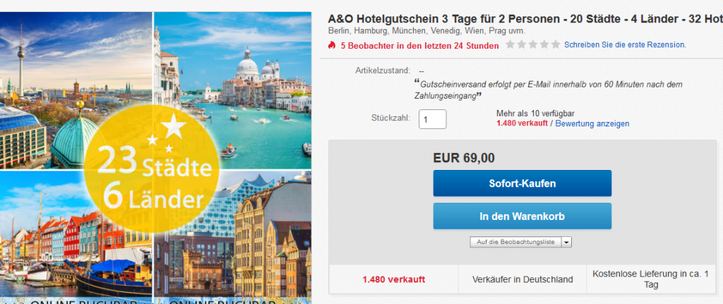 A&O Hotelgutschein 3 Tage ab 34,50€ pro Person