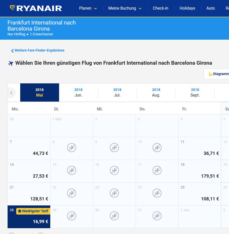 Deal-Screenshot- Günstige flüge nach Barcelona