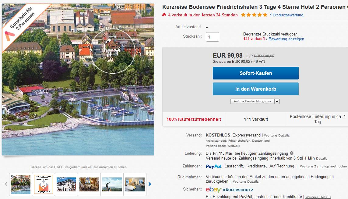 Deal Screenshot - Kurzreise Bodensee