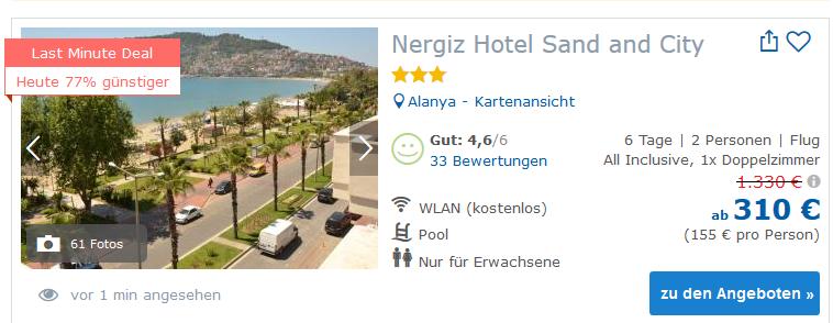 Deal Screenshot -günstiger Türkei Urlaub