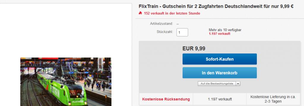 FlixTrain Schnäppchen !Screenshot