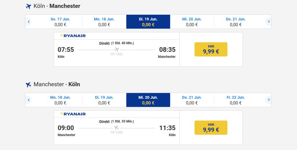 Screenshot Direktflug Ryanair