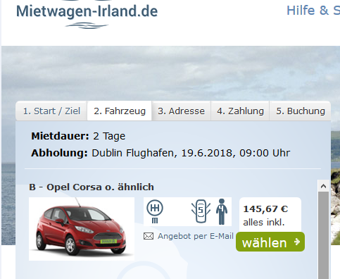 Screenshot Mietwagen
