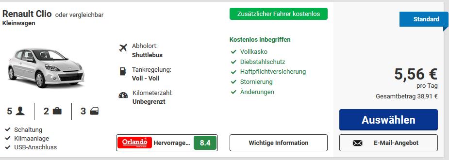 Screenshot deals - urlaubsauto mieten