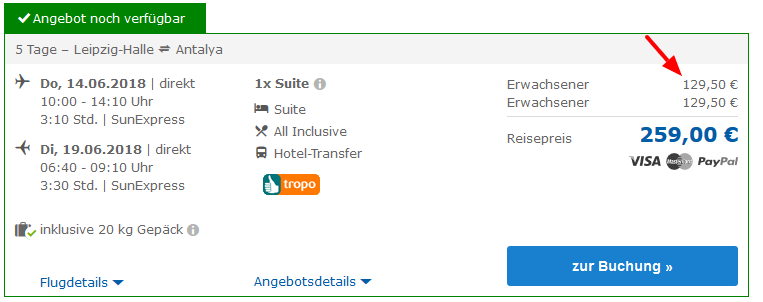 Deal Screenshot - Urlaub Türkei Side All Inclusive