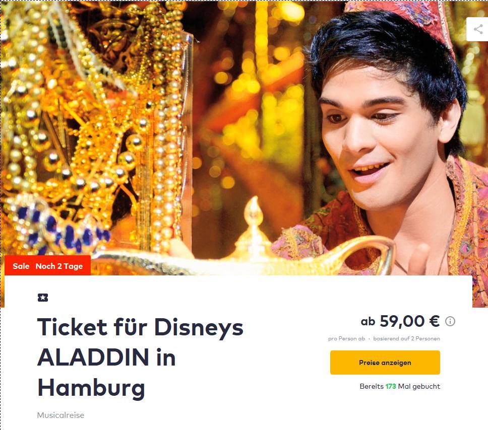 Screenshot Deal - Aladdin Musical Hamburg mit Hotel