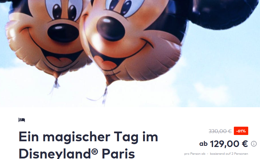 Screenshot DEAL Disneyland Paris
