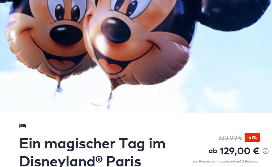 Screenshot DEAL Disneyland Paris