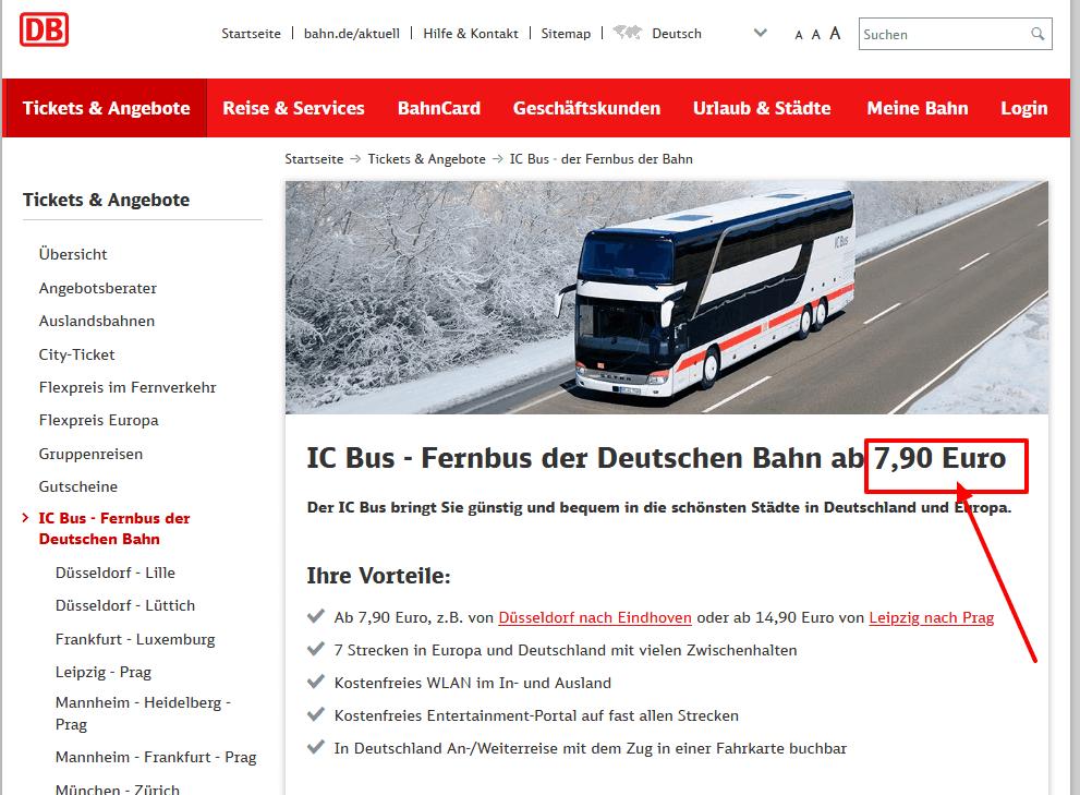 Screenshot Deal IC Bus Der Fernbus der DB für die Straße