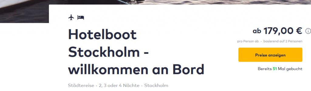 Screenshot Deal Stockholm im Hotelboot