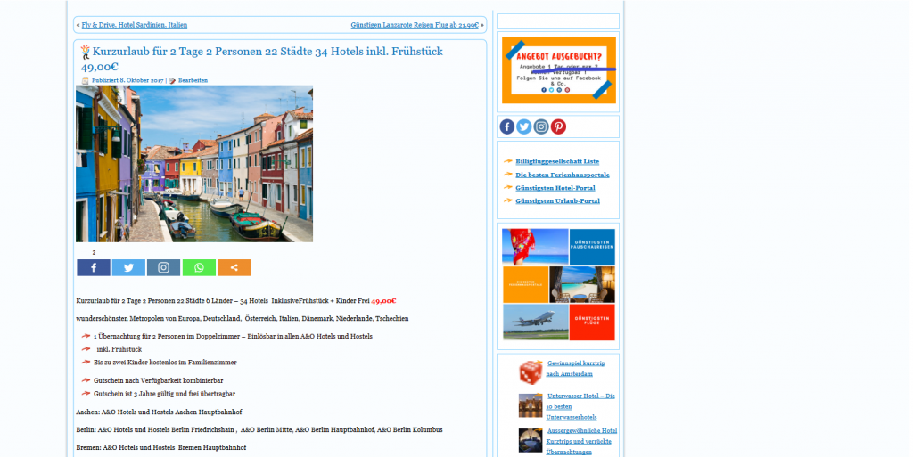 Tage 2 Personen 34 Hotels inkl. Frühstück 49 00€