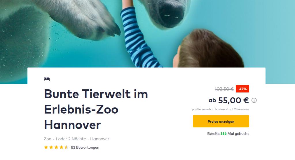 Screenshot zoo hannover angebote mit übernachtung