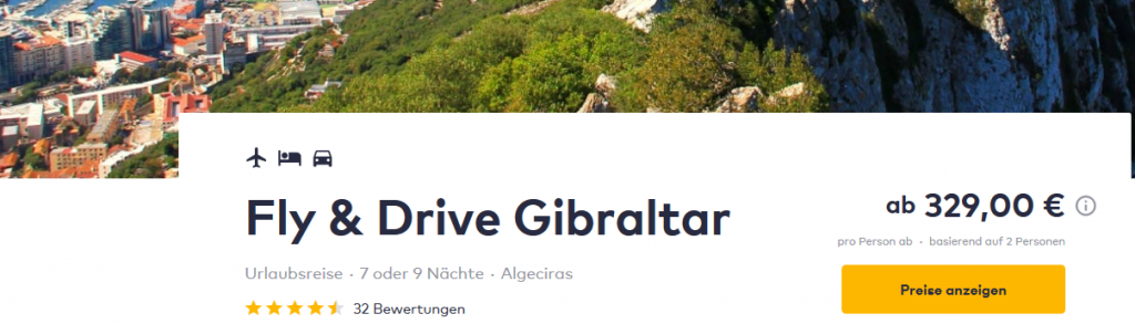 Screenshot Deal - Gibraltar Mietwagen günstig  Fly und Drive