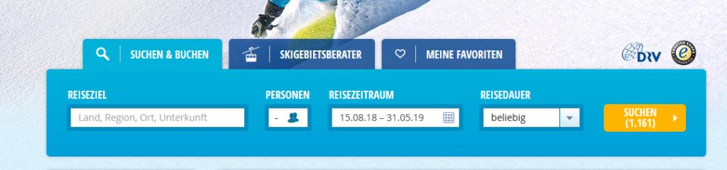 Screenshot Ihren günstigen Skiurlaub online auf wow-reisen.de buchen