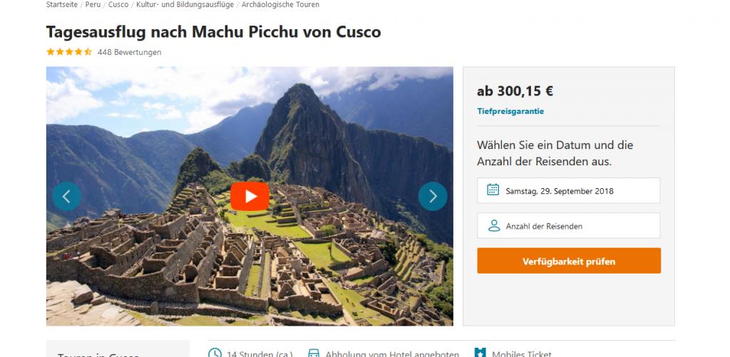 Screenshot Deal 7 Weltwunder reise Tagesausflug nach Machi Picchu