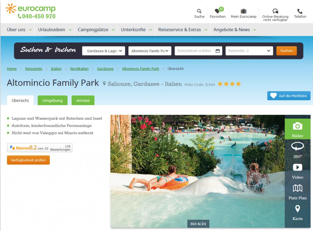 Deal-Screenshot -Altomincio Family Park Camping am Gardasee Italien Eurocamp