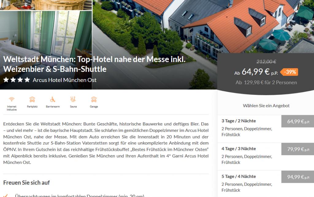 Arcus Hotel München Ost Weltstadt München Top Hotel nahe der Messe inkl. Weizenbier S Bahn Shuttle
