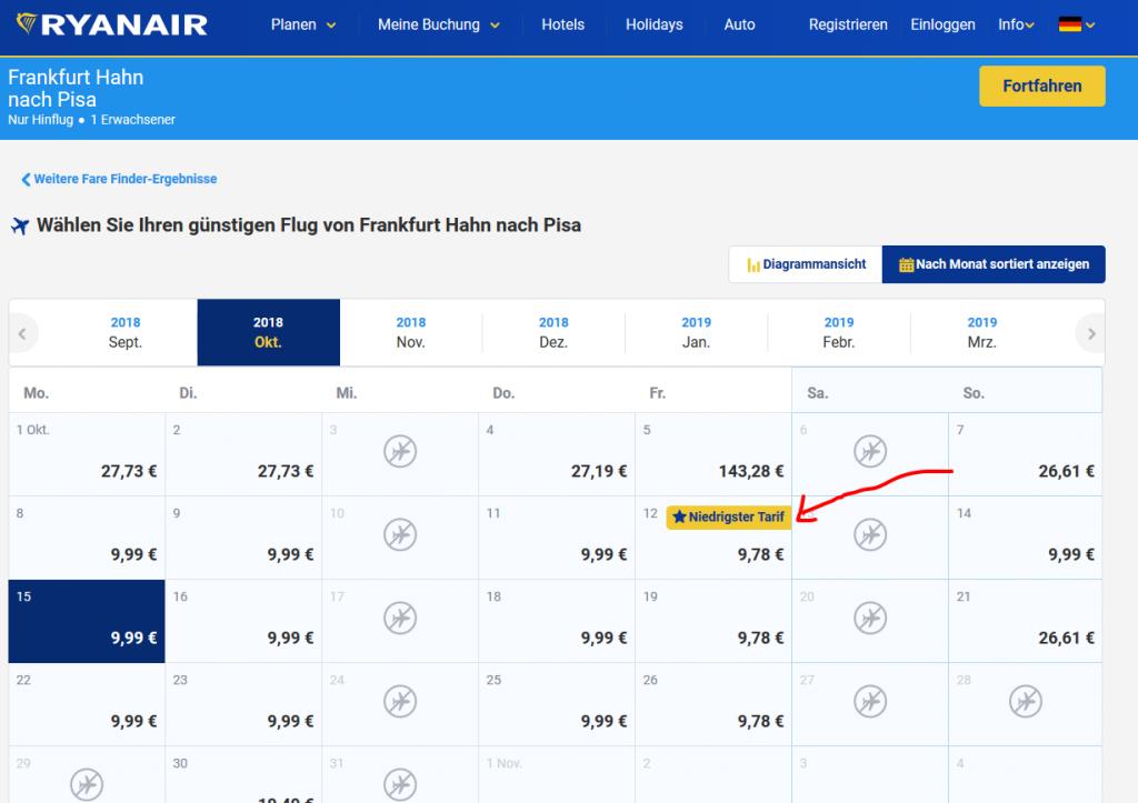 Screenshot Deal - Billigflüge nach Pisa von Frankfurt Hahn Ryanair