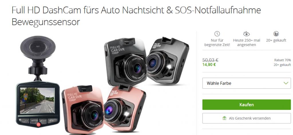 Deal-Screenshot Kamera für Auto überwachung  - Bis zu 70 Rabatt Full HD DashCam