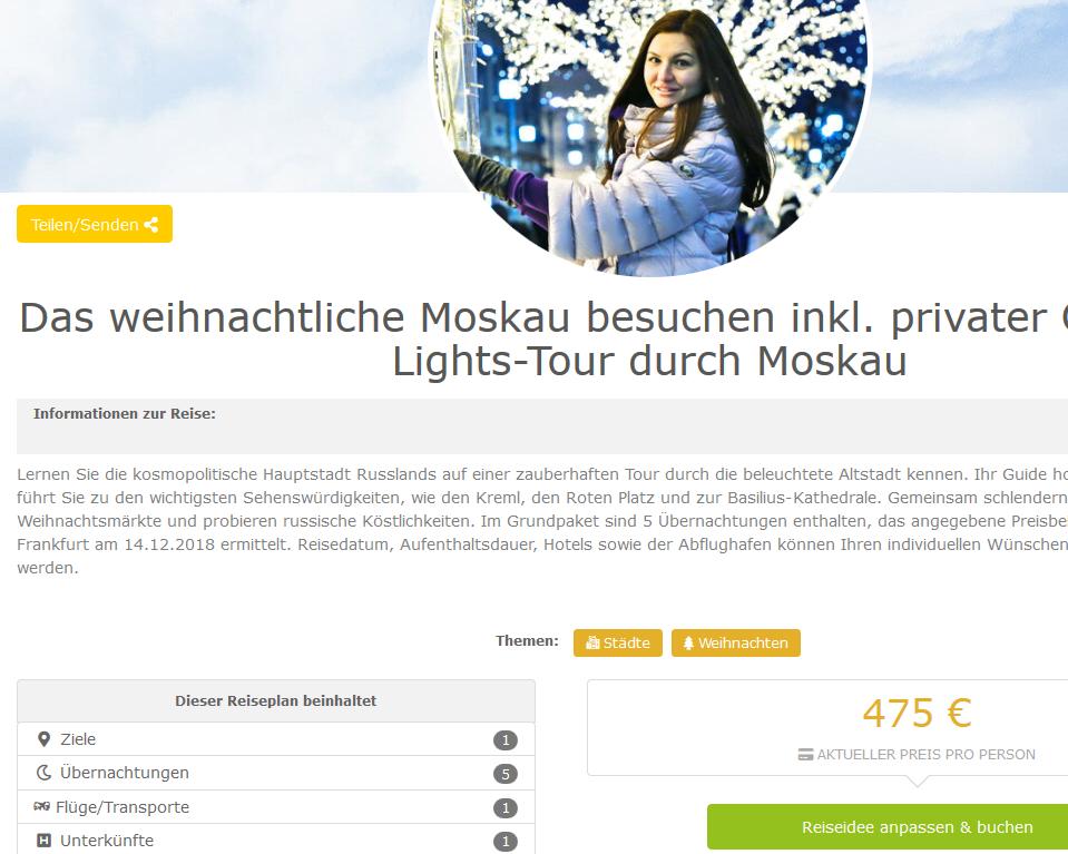 Deal Screenshot - Das weihnachtliche Moskau besuchen inkl. privater Christmas Lights Tour durch Moskau ab 475 €