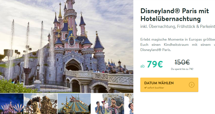 Screenshot Deal -Disneyland® Paris mit Hotelübernachtung