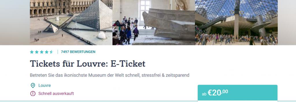 Screenshot Deal Louvre Paris Tickets Billig kaufen ab 20,00€