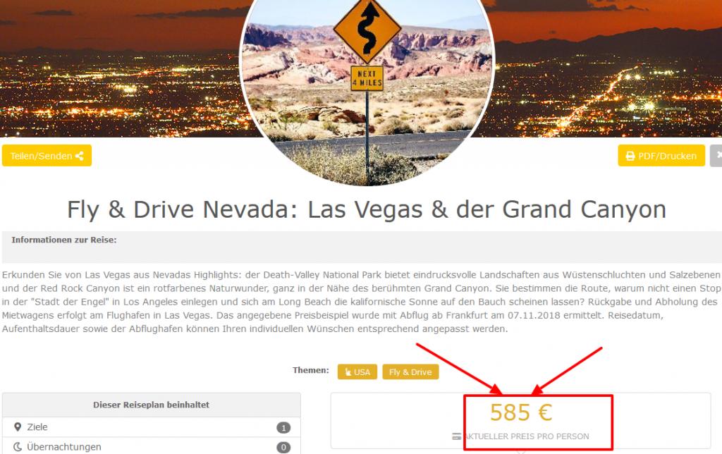 Deal-Screenshot -Fly Drive Nevada Las Vegas der Grand Canyon ab 585 €
