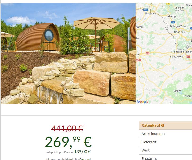 Screenshot Das Saarland entdecken im Glamping Resprt 4 Tage ab 135,00€ p.P