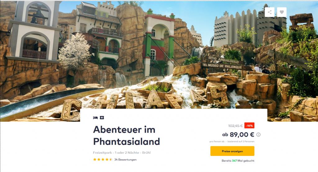 Screenshot Deal-Phantasialand ein Tag voll Adrenalin ab 89,00€