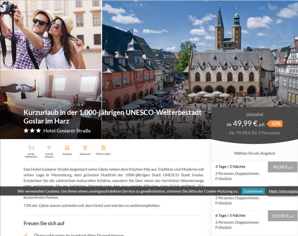 Hotel Goslarer Straße Kurzurlaub in der 1.000 jährigen UNESCO Welterbestadt Goslar im Harz