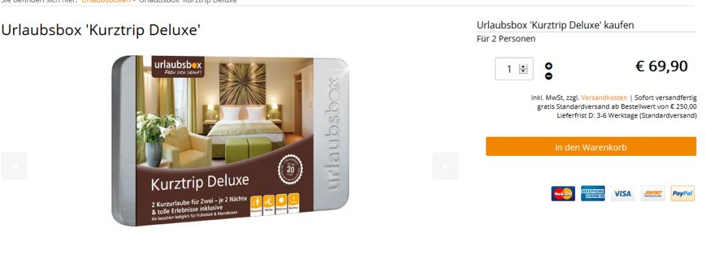 Hotelgutschei2 Nächte für Kurztrip Deluxe Urlaubsbox