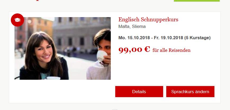 Screenshot Deal Sprachreise Englisch lernen in Malta 5 Tage ab 99,00€