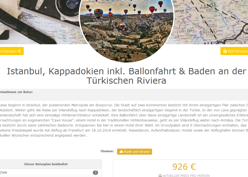 Istanbul Kappadokien inkl. Ballonfahrt Baden an der Türkischen Riviera ab 926 €