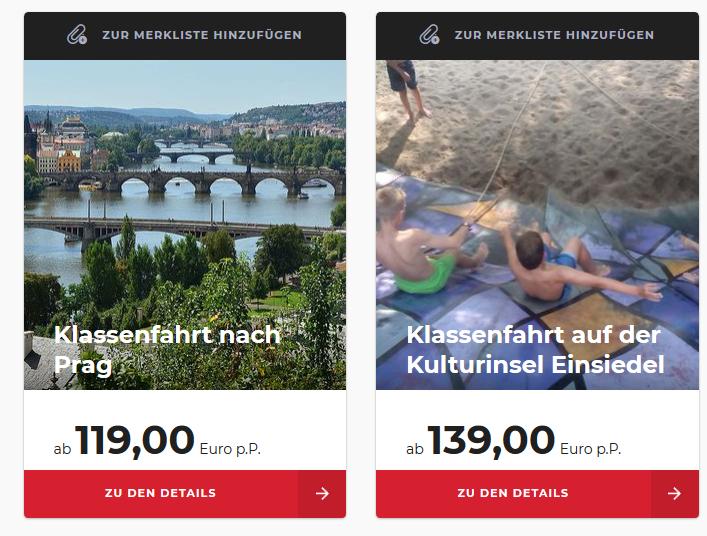 Screenshot Deal -Klassenfahrt Klassenausflüge JUGENDREISE.DE