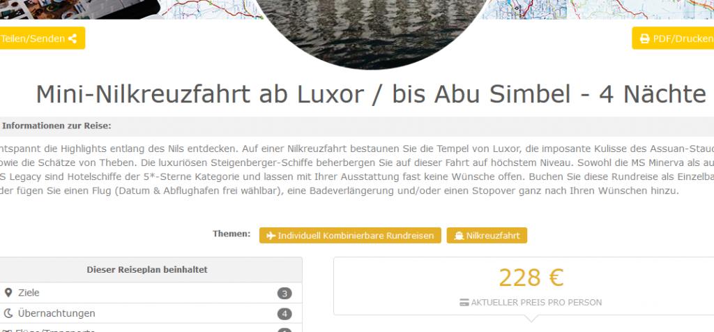 Mini Nilkreuzfahrt ab Luxor bis Abu Simbel 4 Nächte ab 228 €