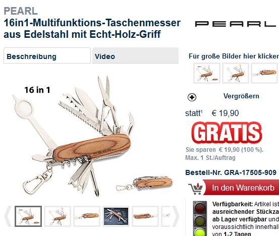 Deal-Screenshot 16in1 Multifunktions Taschenmesser aus Edelstahl mit Echt Holz Griff
