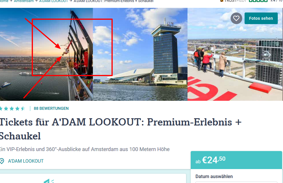 Premium Tickets A DAM LOOKOUT Amsterdam Tiqets