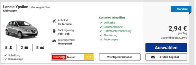 Screenshot-Deal Ryanair-Autovermietung