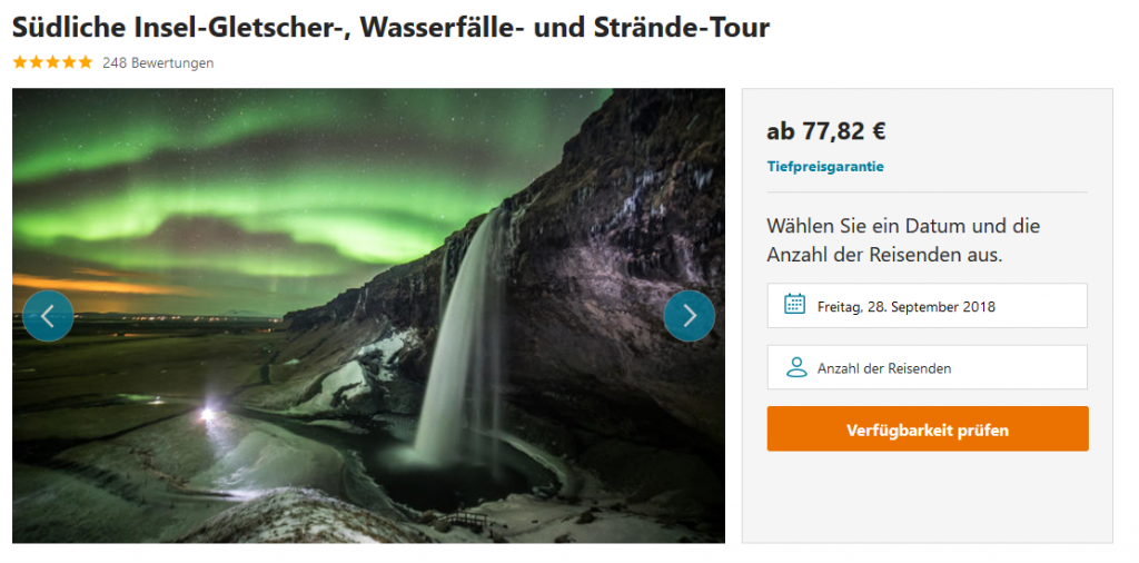 Südliche Insel Gletscher Wasserfälle und Strände Tour 2018 Reykjavik