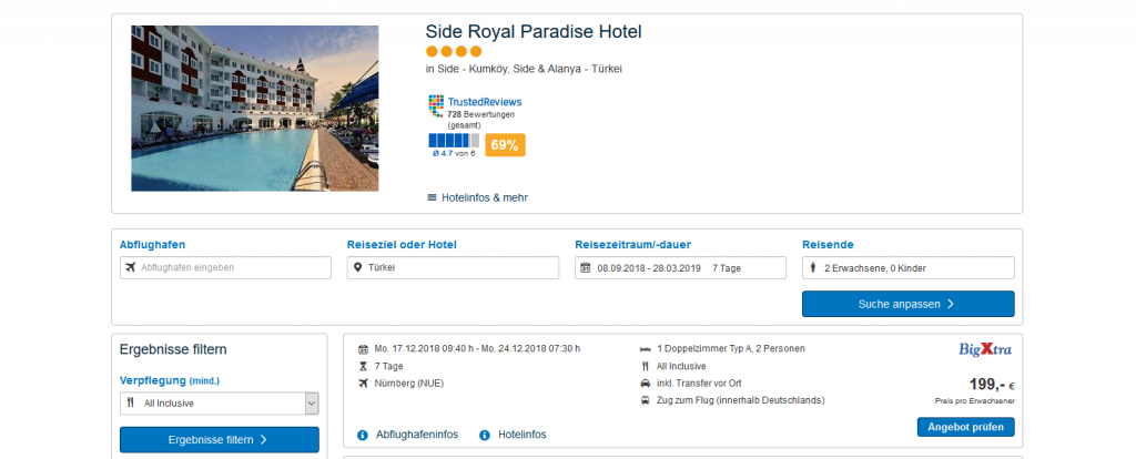 Screenshot  Deals - 7 Tage Side im Royal Paradise Hotel ab 199,00€